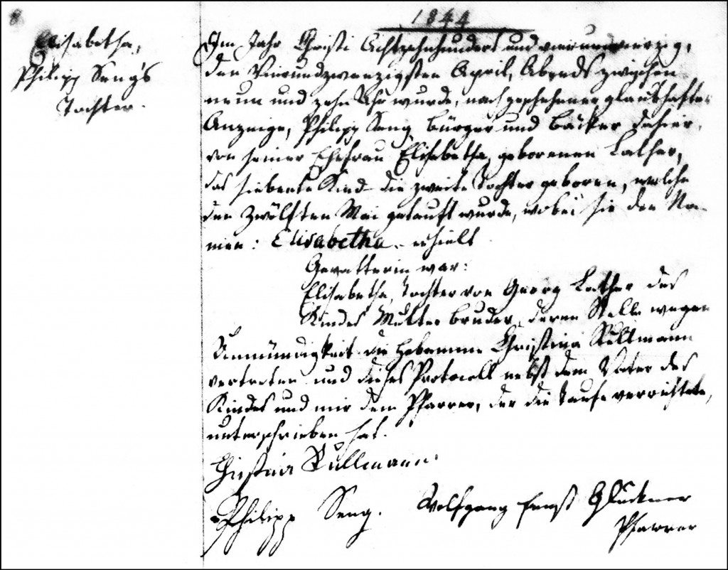 The Birth and Baptismal Record of Elisabetha Seng - 1844