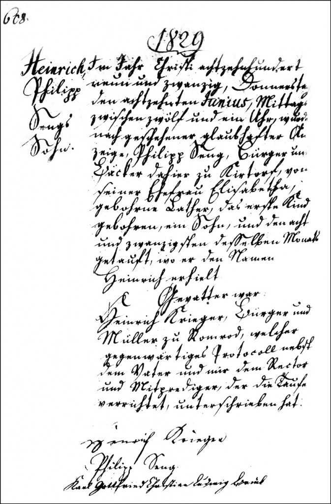 The Birth and Baptismal Record of Heinrich Seng - 1829