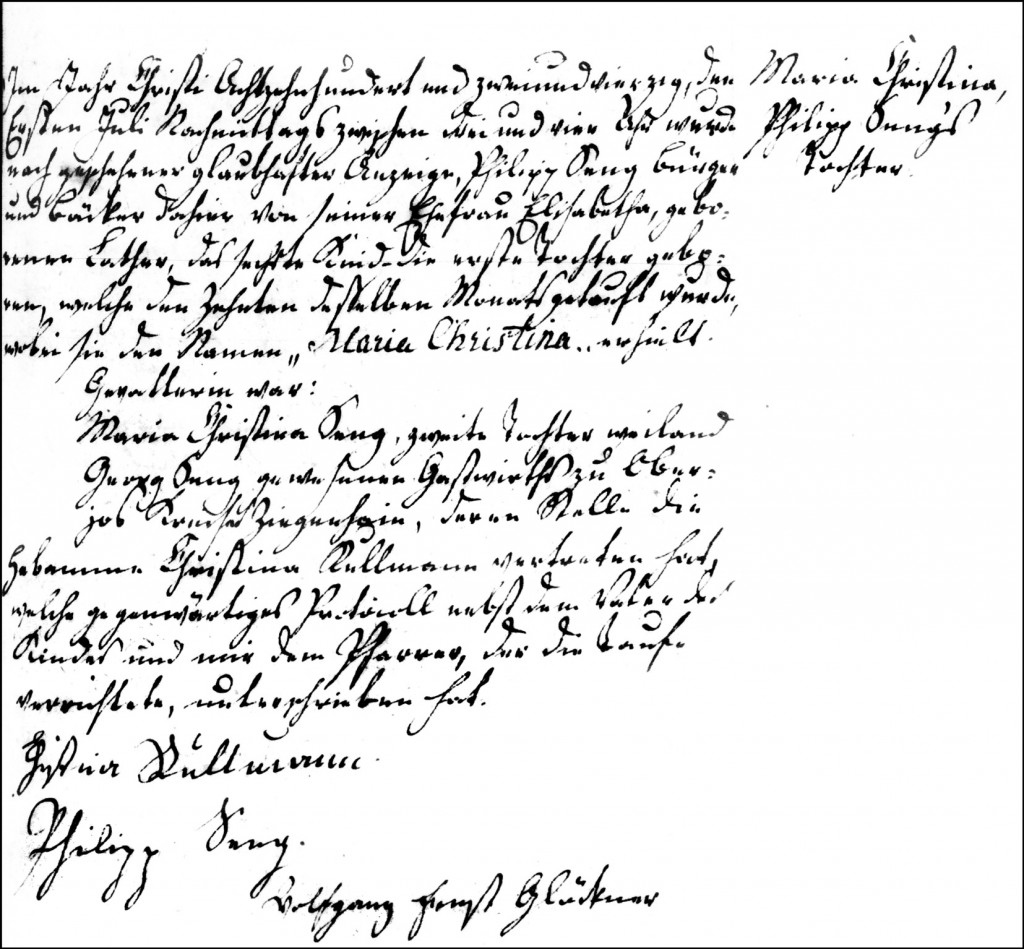 The Birth and Baptismal Record of Maria Christina Seng - 1842