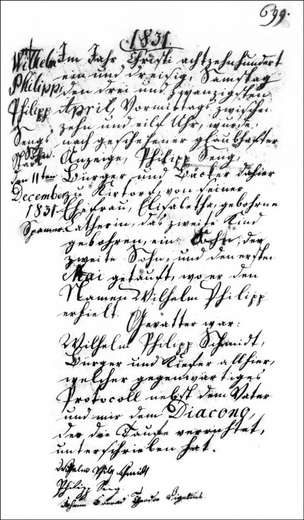 The Birth and Baptismal Record of Wilhelm Philipp Seng - 1831