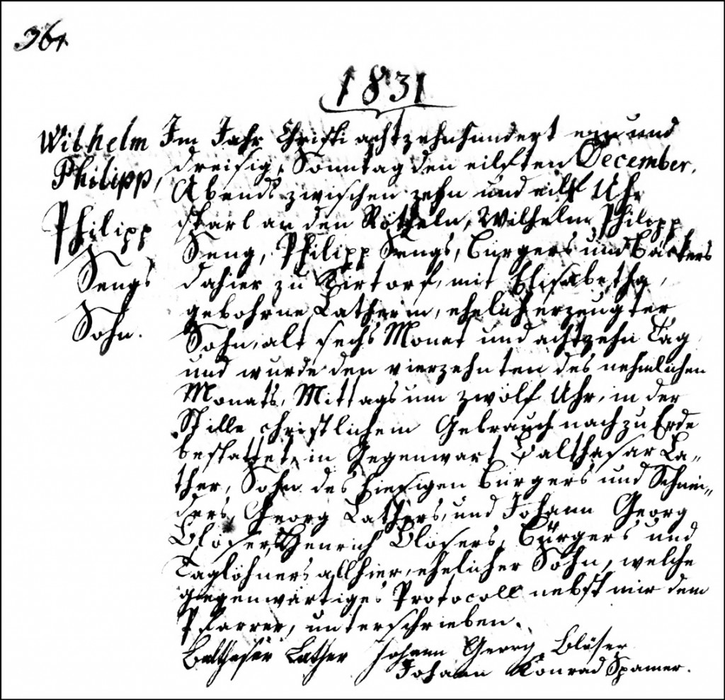The Death and Burial Record of Wilhelm Philipp Seng - 1831
