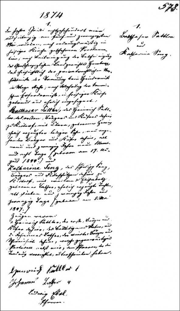 The Marriage Record of Balthasar Sattler and Katharina Seng - 1874