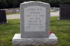 The Gravestone of John N. P. Izbicki and Nellie M. Dusavage - Reverse