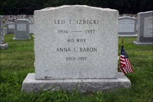 Gravestone of Leo T. Izbicki and Anna L. Baron - Reverse