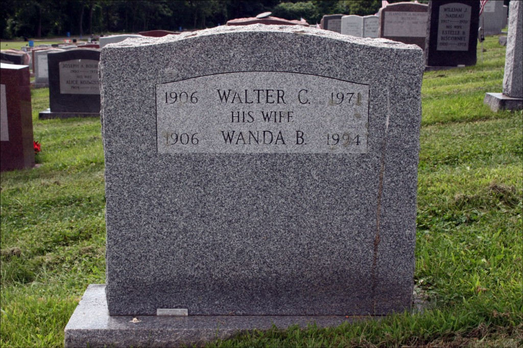 The Gravestone of Walter C. and Wanda B. Izbicki - Reverse