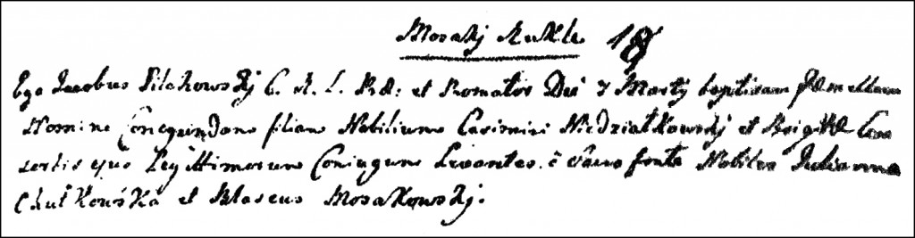 The Birth and Baptismal Record of Kunegunda Niedziałkowska - 1762