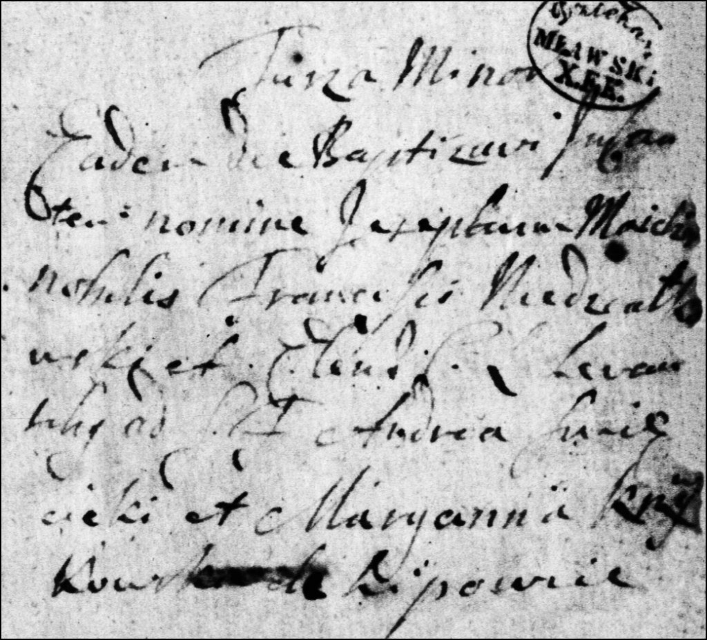 The Birth and Baptismal Record of Jozef Melchior Niedzialkowski - 1720