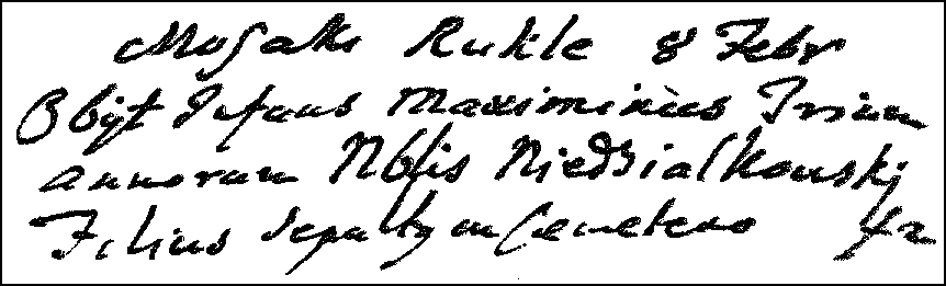The Death and Burial Record of Adam Maksymilian Niedzialkowski - 1763