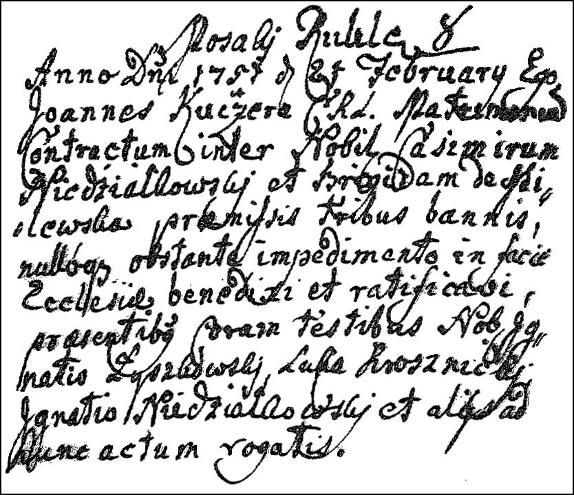 The Marriage Record of Kazimierz Niedziałkowski and Brygida Milewska - 1751
