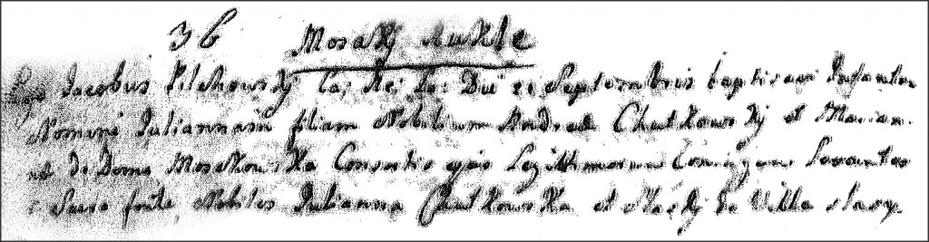 The Birth and Baptismal Record of Julianna Chodkowksa - 1758