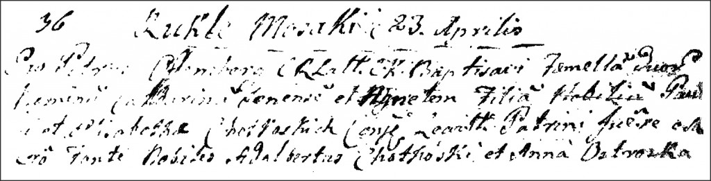 The Birth and Baptismal Record of Katarzyna Chodkowska - 1786