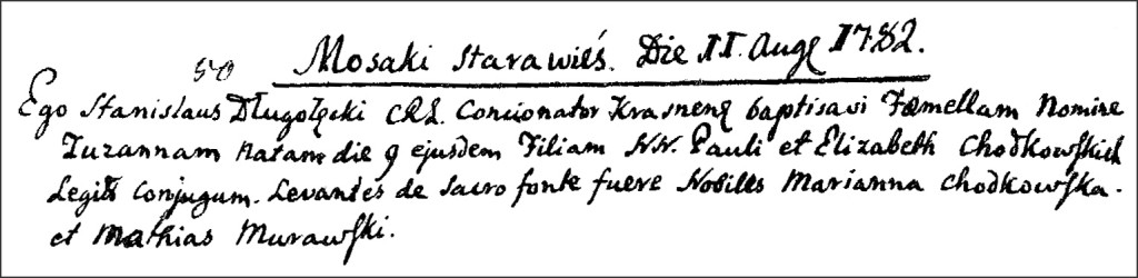 The Birth and Baptismal Record of Zuzanna Chodkowska - 1782