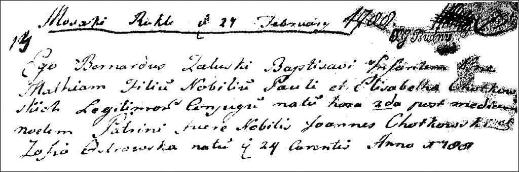The Birth and Baptismal Record of Maciej Chodkowski - 1788