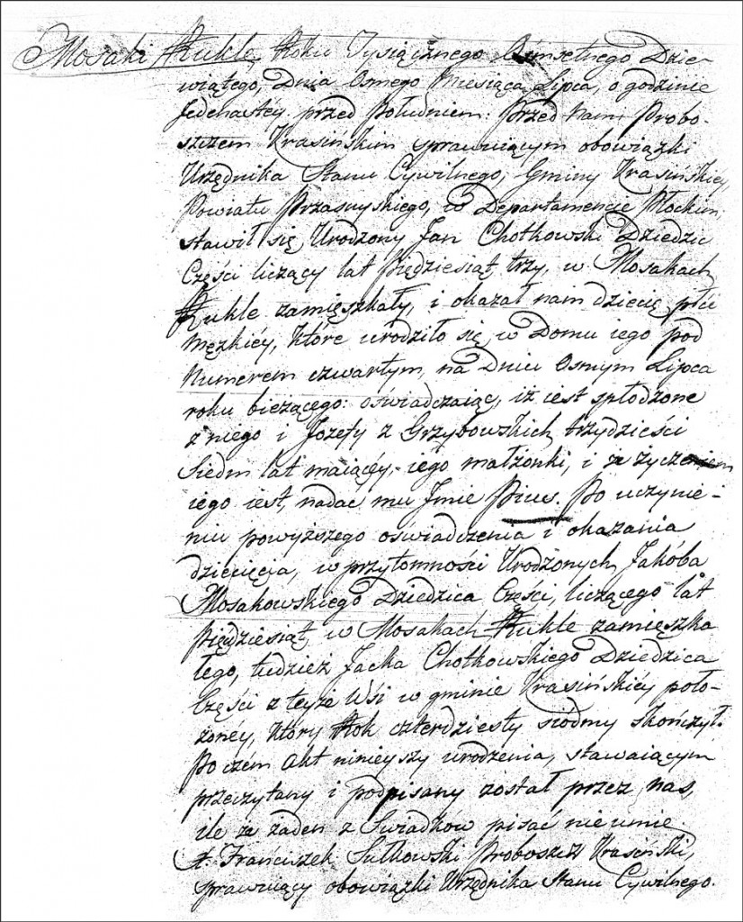 The Birth and Baptismal Record of Pius Chodkowski -1809
