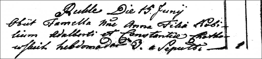 The Death and Burial Record of Anna Chodkowska - 1791