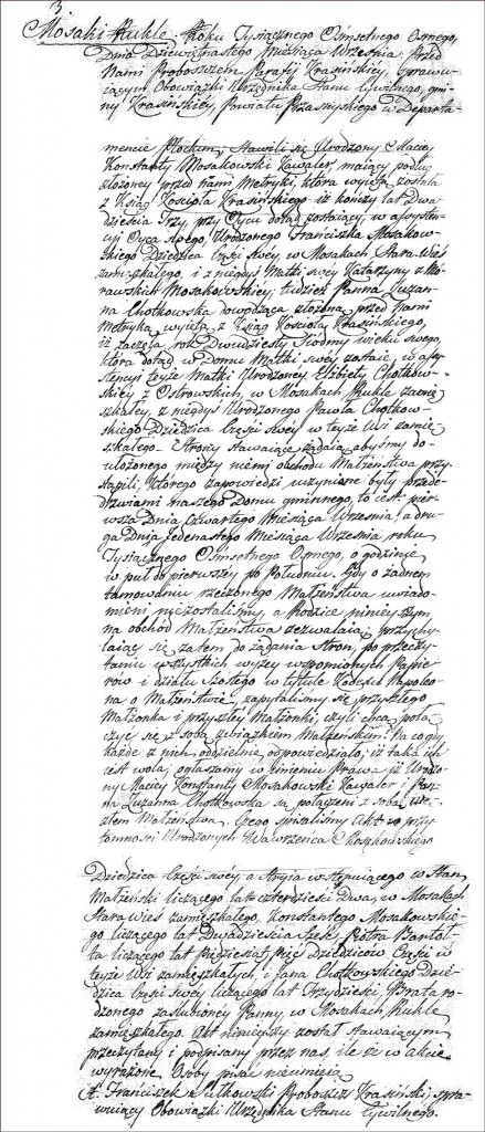The Marriage Record of Maciej Konstanty Mossakowski and Zuzanna Chodkowska - 1808