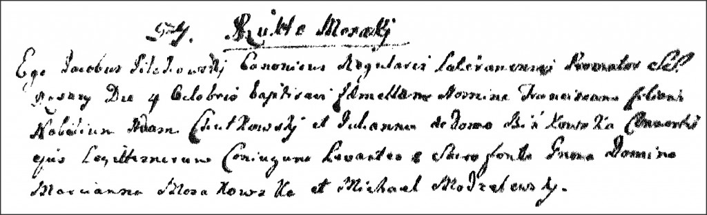 The Birth and Baptismal Record of Franciszka Chodkowska - 1761