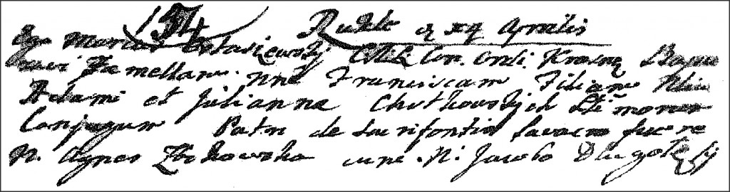 The Birth and Baptismal Record of Franciszka Chodkowska - 1767
