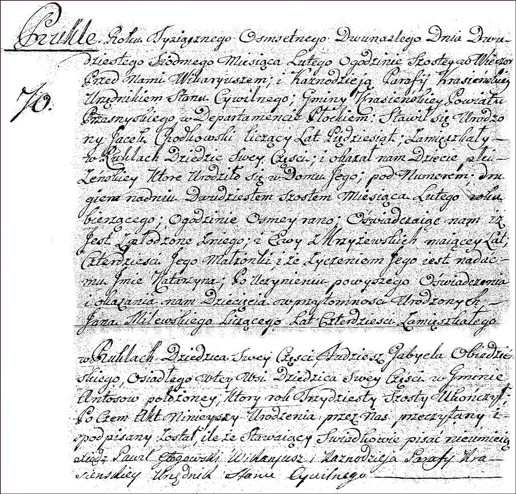 The Birth and Baptismal Record of Katarzyna Chodkowska - 1812