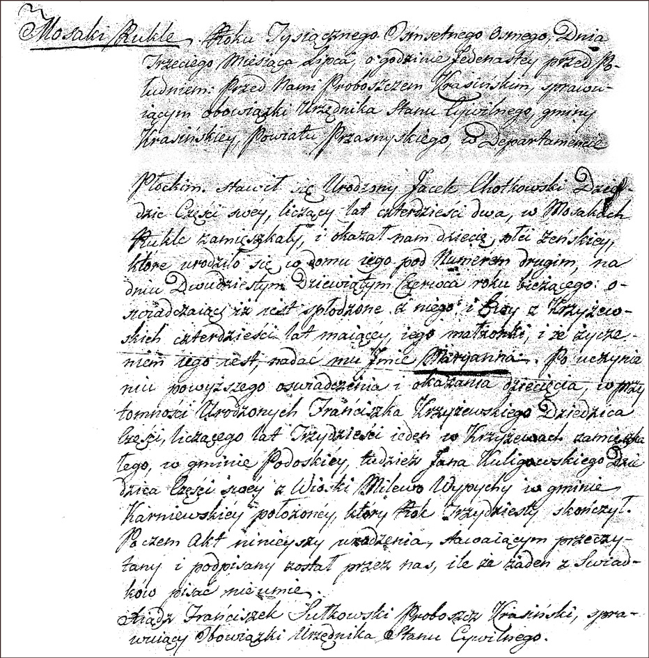 The Birth and Baptismal Record of Marianna Chodkowksa - 1808
