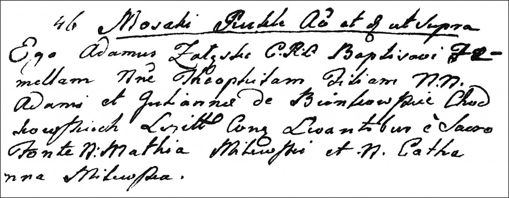 The Birth and Baptismal Record of Teofila Chodkowska - 1778