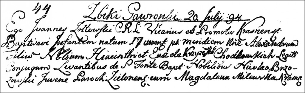 The Birth and Baptismal Record of Aleksander Chodkowski - 1794