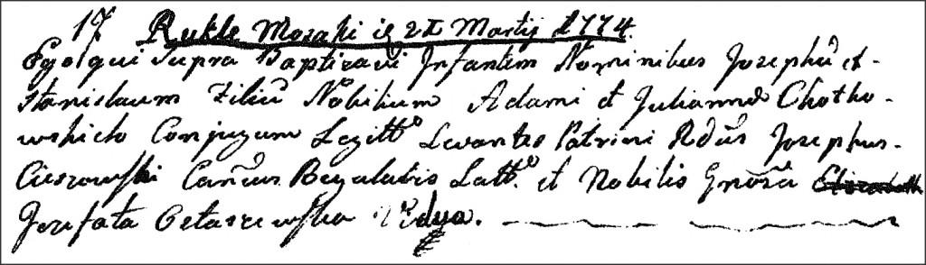 The Birth and Baptismal Record of Józef Stanisław Chodkowski - 1774