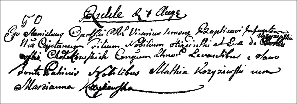 The Birth and Baptismal Record of Kajetan Chodkowski - 1796