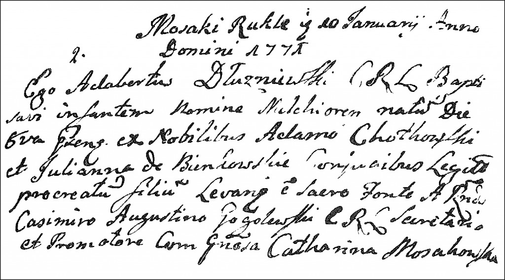 The Birth and Baptismal Record of Melchior Chodkowski - 1771