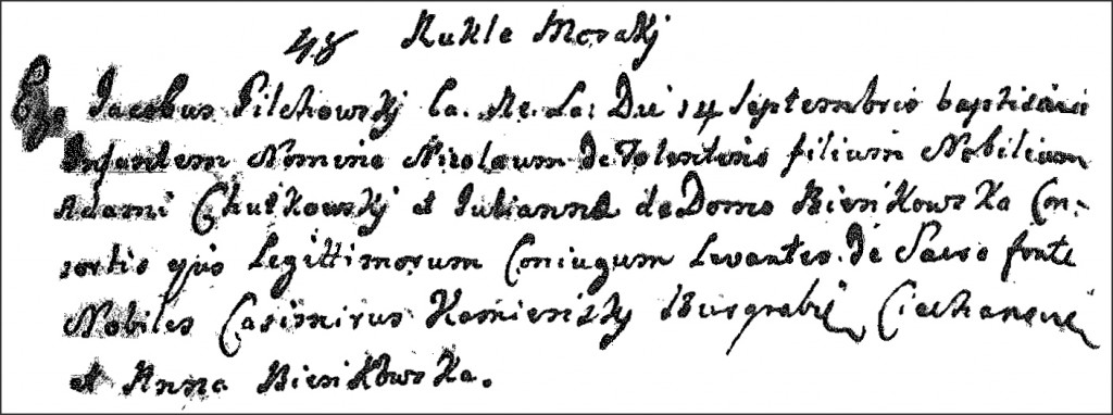 The Birth and Baptismal Record of Mikołaj Chodkowski - 1759