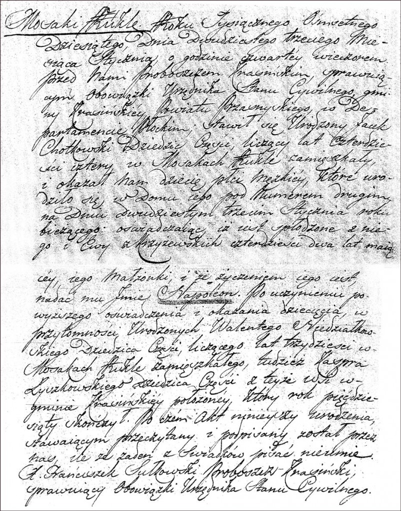 The Birth and Baptismal Record of Napoleon Chodkowski - 1810
