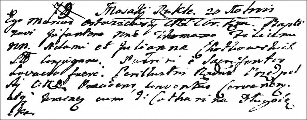 The Birth and Baptismal Record of Tomasz Chodkowski - 1768