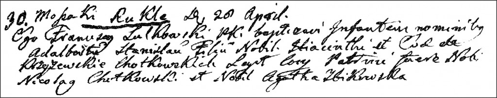 The Birth and Baptismal Record of Wojciech Stanisław Chodkowski - 1805