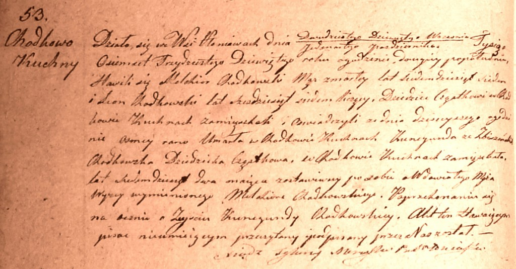 The Death and Burial Record of Kunegunda née Zbyszyńska Chodkowska - 1839