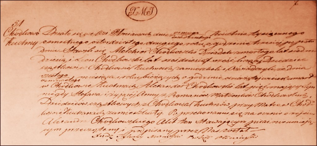 The Death and Burial Record of Aleksander Ignacy Chodkowski - 1842