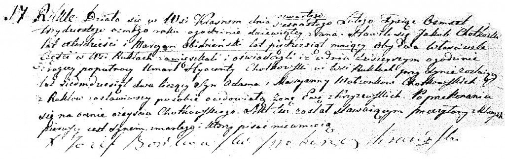 The Death and Burial Record of Jacek Roch Chodkowkski - 1838
