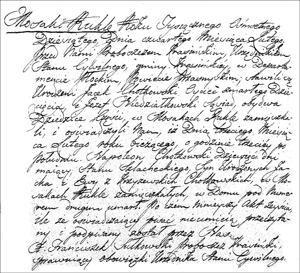 The Death and Burial Record of Napoleon Chodkowski - 1810