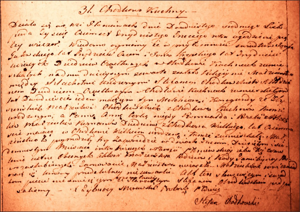 The Marriage Record of Stefan Chodkowski and Anna Roman - 1833