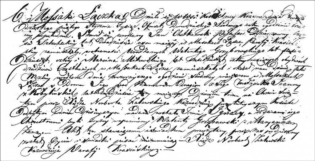 The Birth and Baptismal Record of Ignacy Chodkowski - 1827