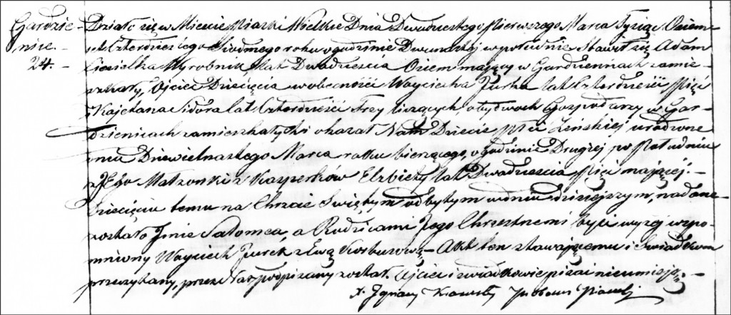 The Birth and Baptismal Record of Salomea Ciesielka - 1847