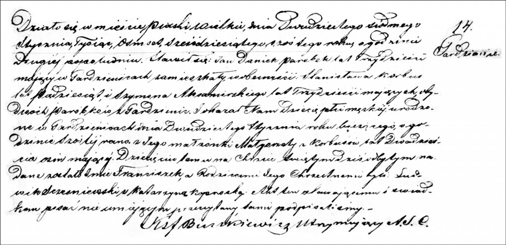 The Birth and Baptismal Record of Franciszek Dańko - 1866