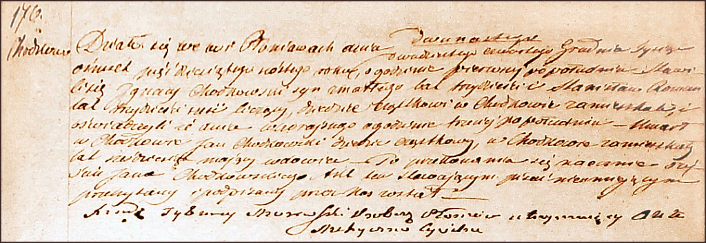 The Death and Burial Record of Jan Chodkowski - 1756