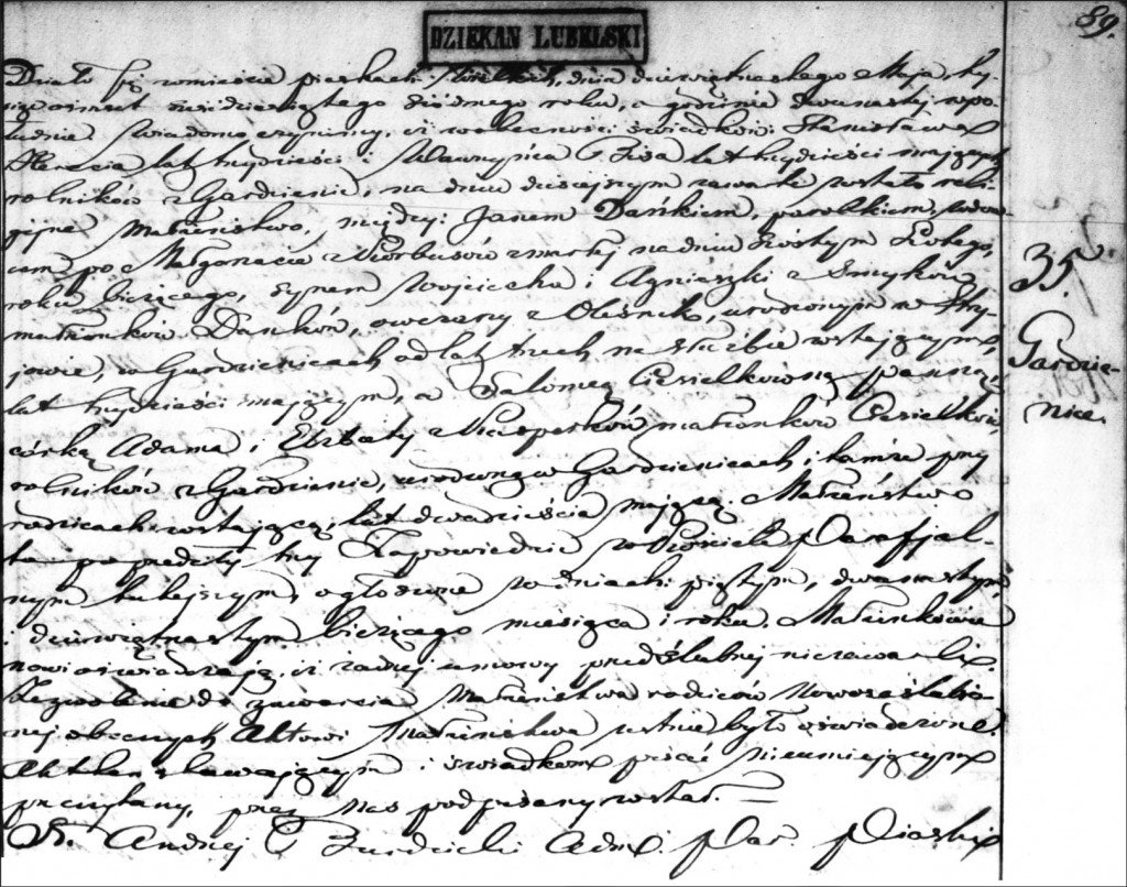 The Marriage Record of Jan Dańko and Salomea Ciesielka - 1867
