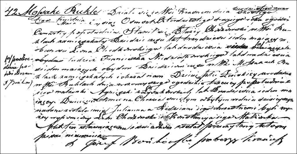 The Birth and Baptismal Record of Julianna Chodkowska - 1842
