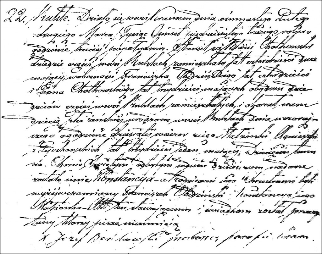 The Birth and Baptismal Record of Konstancja Chodkowska - 1853
