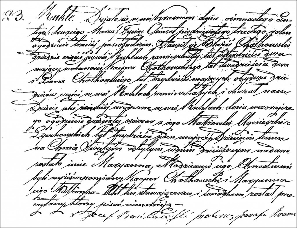 The Birth and Baptismal Record of Marianna Chodkowska - 1853