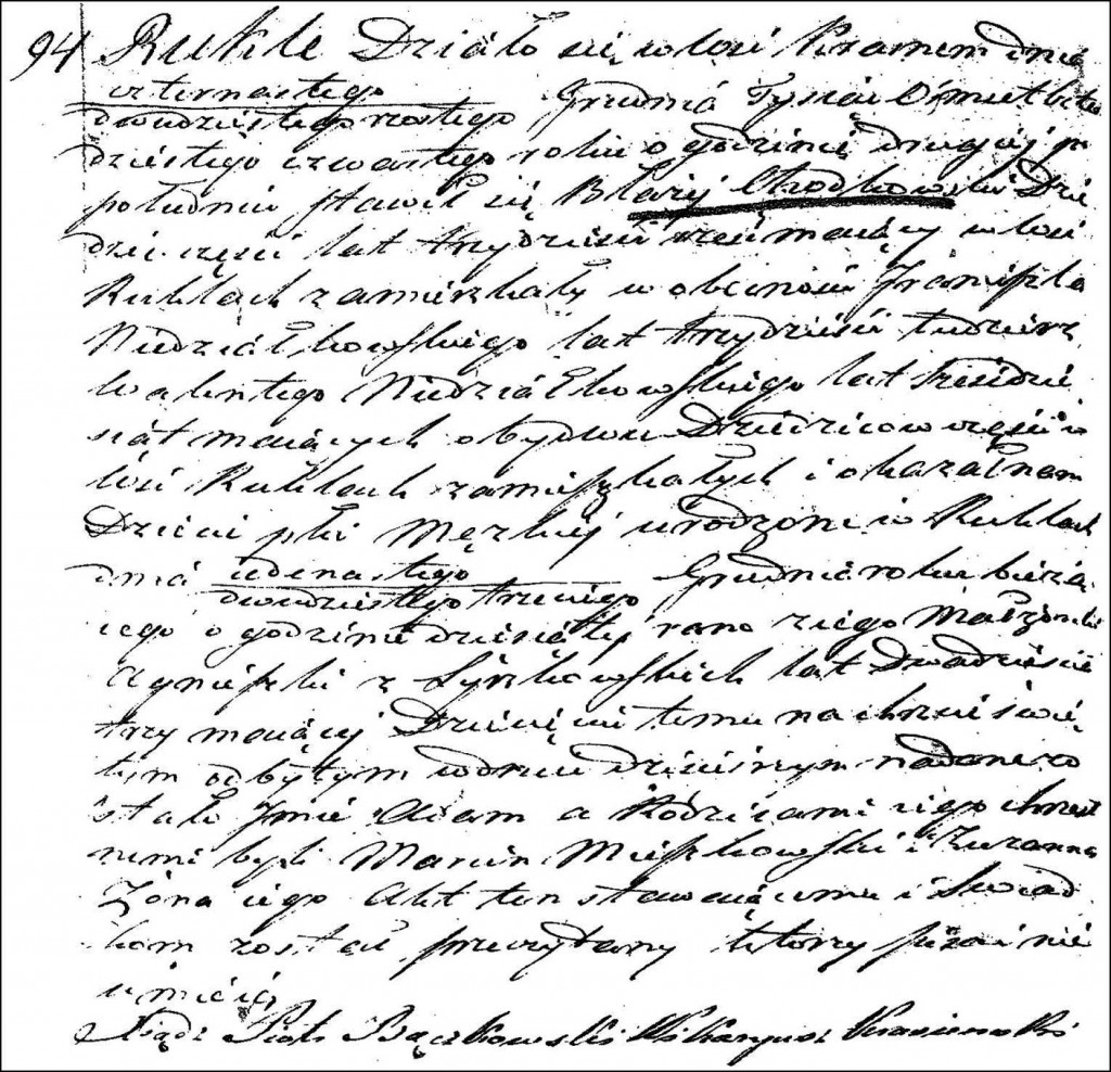 The Birth and Baptismal Record of Adam Chodkowski - 1844