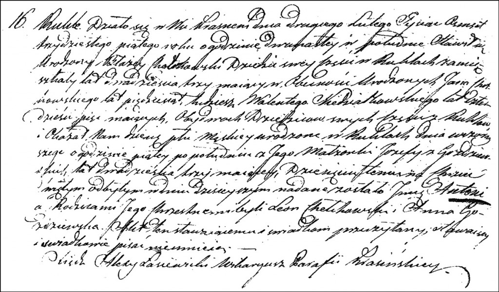 The Birth and Baptismal Record of Antoni Chodkowski - 1835