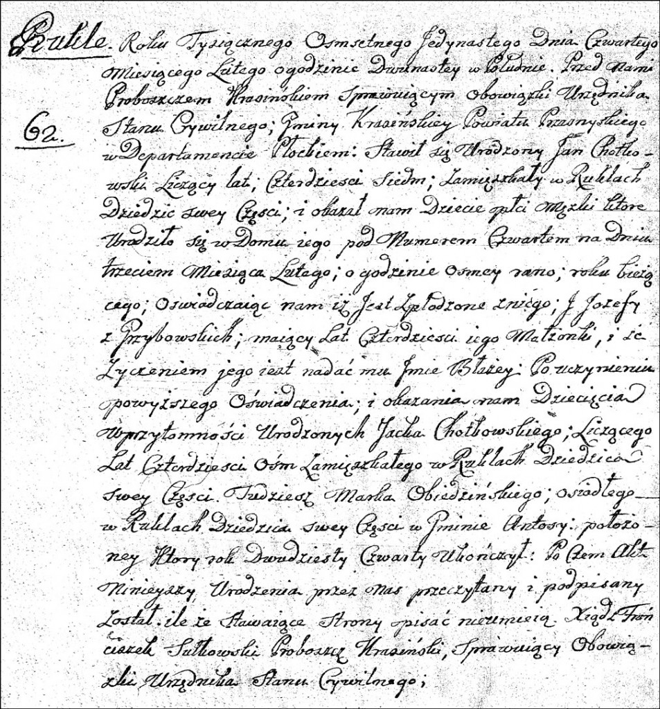 The Birth and Baptismal Record of Błażej Chodkowski - 1811