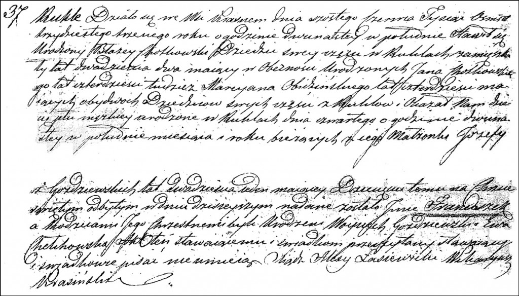 The Birth and Baptismal Record of Franciszek Chodkowski - 1833